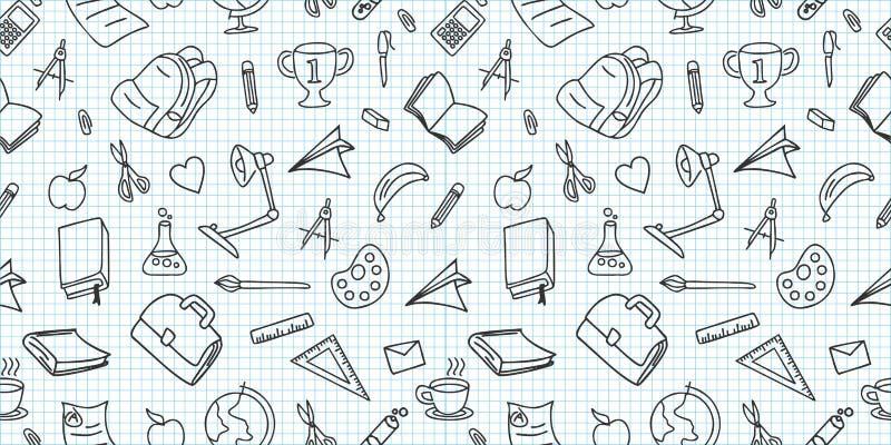 Naadloos gekleurd terug naar schoolpatroon met de krabbeltekening van leverings stationaire en creatieve elementen Creatieve leuk royalty-vrije illustratie