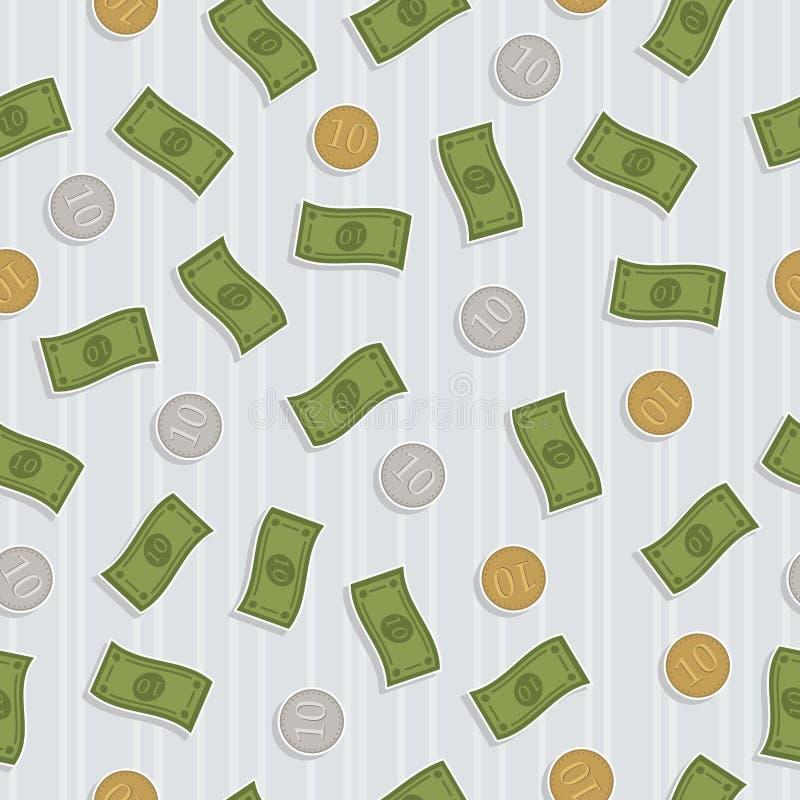 Naadloos geldpatroon vector illustratie