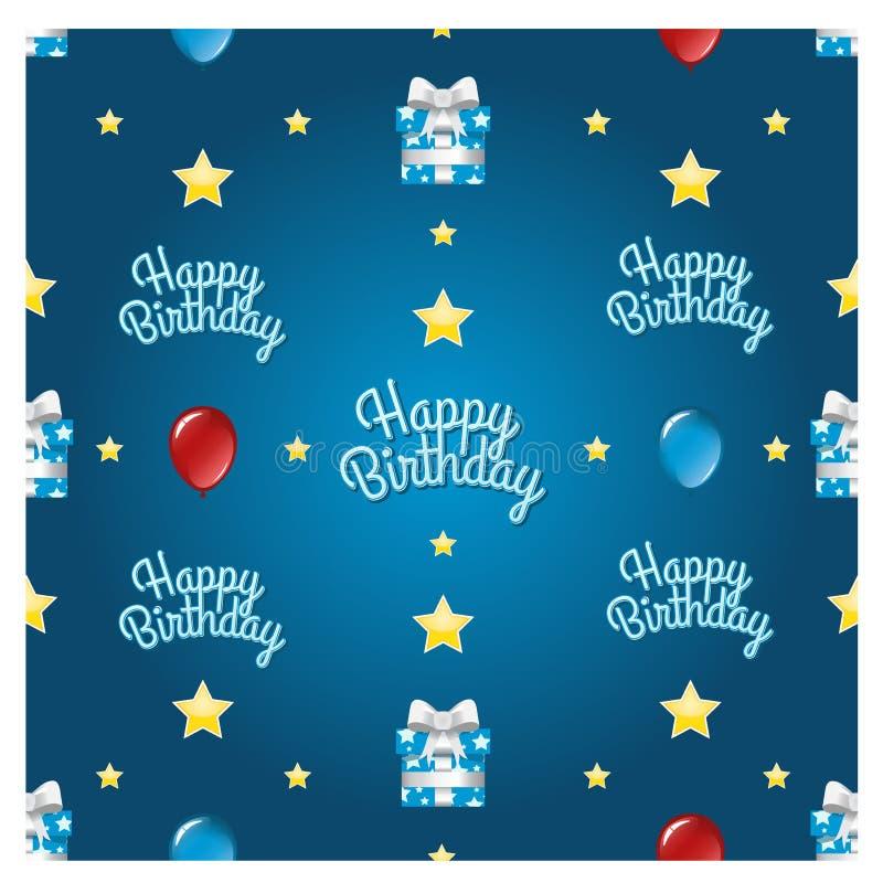 Naadloos Gelukkig Verjaardagspatroon royalty-vrije stock afbeelding