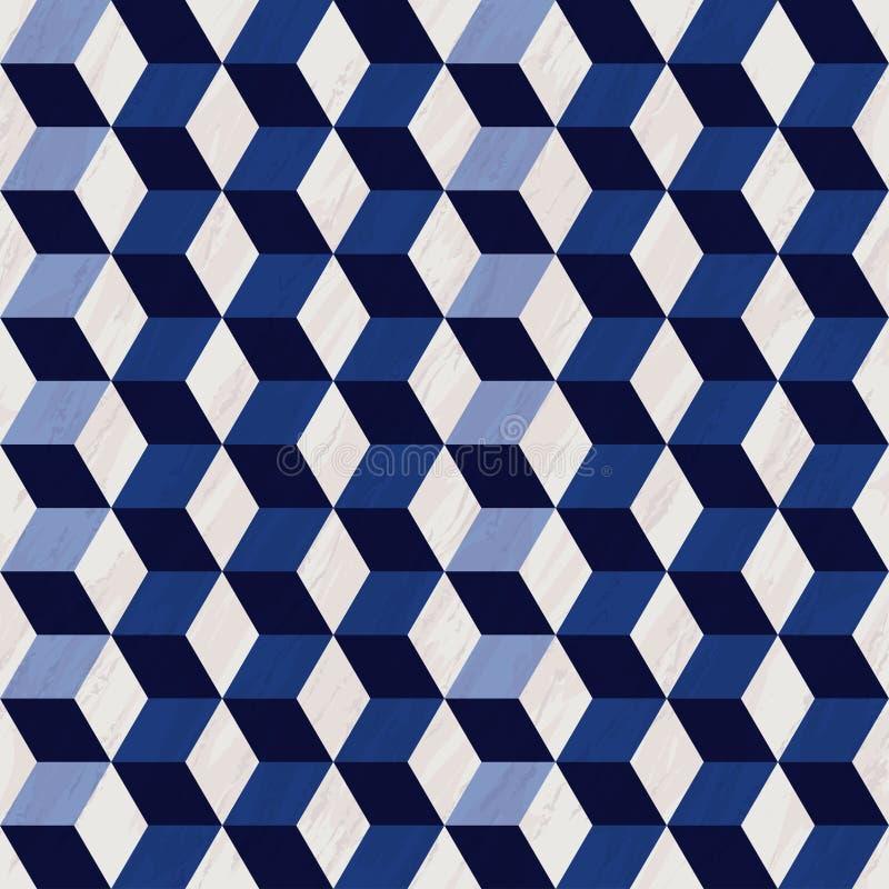 Naadloos geometrisch 3d patroon met marmeren textuur, hexagon patroon, blauw en wit patroon met kubussen stock illustratie