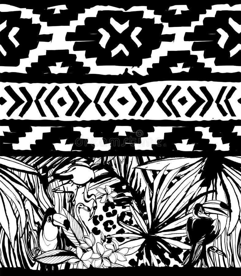 Naadloos Geometrisch Patroon Etnische Azteekse tropische vogels stammen bloemenachtergrond vector illustratie