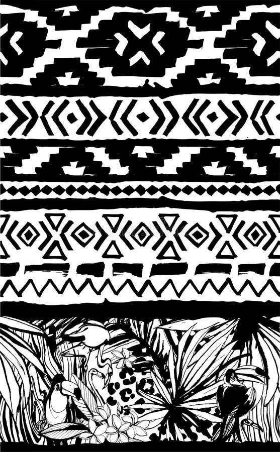 Naadloos Geometrisch Patroon Etnische Azteekse tropische vogels stammen bloemenachtergrond stock illustratie