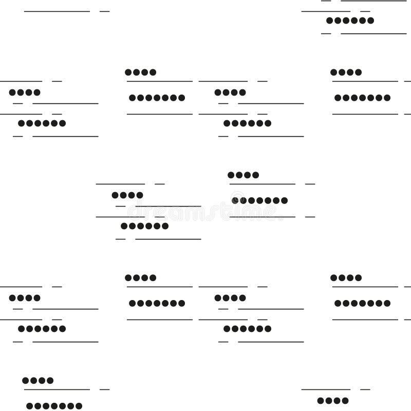 Naadloos Geometrisch Patroon golvende dunne draad met kleine parels Vector die textuur met cirkels herhalen Gevoelige zwart-wit b stock illustratie