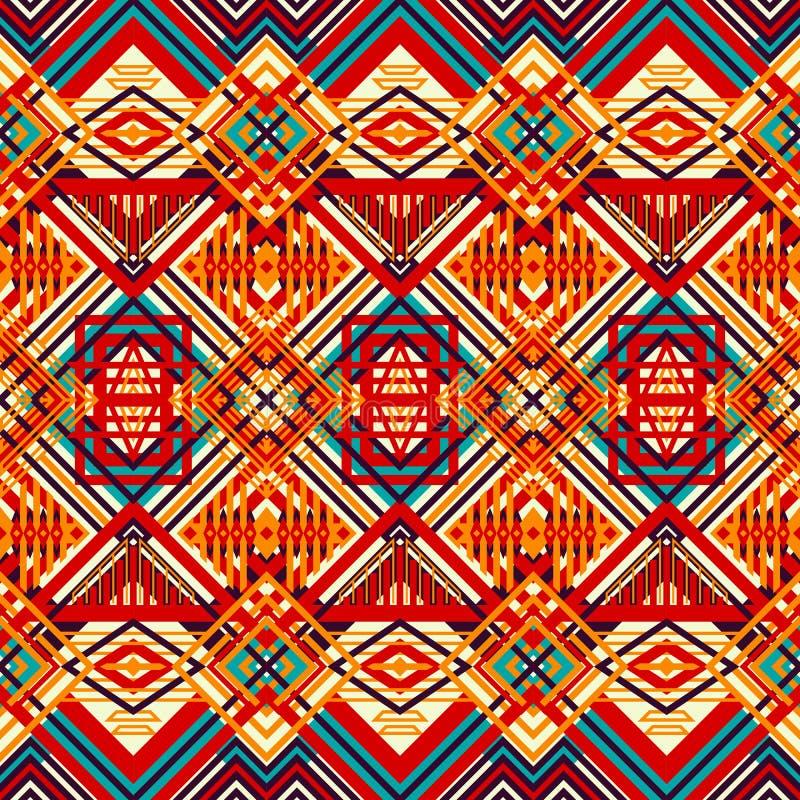 Naadloos Geometrisch Patroon Helder ingewikkeld patroon Sinaasappel, stock illustratie