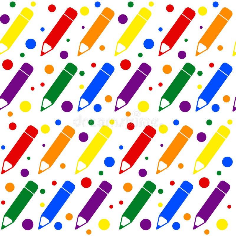 Naadloos geometrisch patroon met kleurrijke potloden in vlakke stijl Vector royalty-vrije illustratie