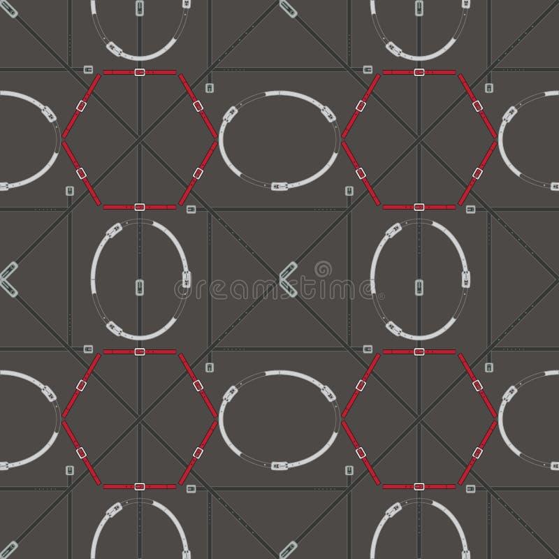 Naadloos geometrisch patroon met riemen en gespen Complexe vectordruk in olijf, zilver, grijs en rood vector illustratie