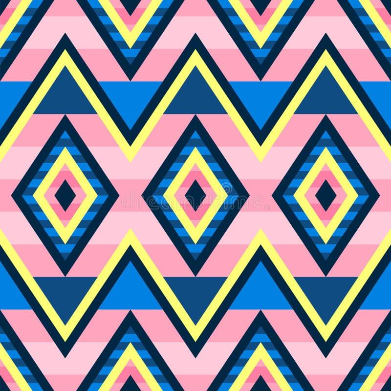 Naadloos geometrisch patroon met strepen en rhomb Helder ? kleurschema in klassiek blauw, citroen en roze stock illustratie