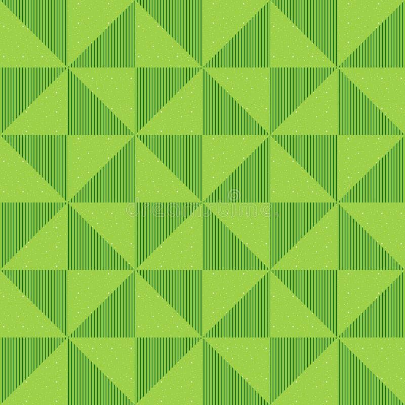 Naadloos geometrisch patroon van lovertjes, trillende driehoeken en verticale lijnen Achtergrond van groene driehoeken vector illustratie