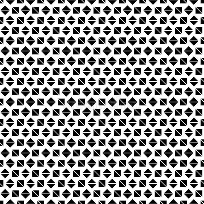 Naadloos geometrisch patroon van zwarte vierkanten en diamanten op een witte achtergrond vector illustratie