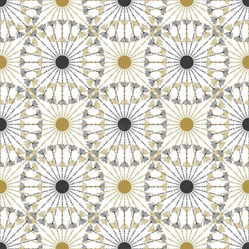 Naadloos geometrisch uitstekend zwart en gouden cirkelpatroon Vector textuur stock illustratie