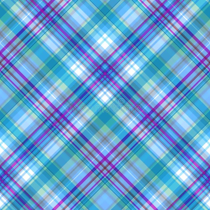 Naadloos geruit patroon met een overheersing van lichtblauwe en magenta schaduwen, geruit Schots wollen stofpatroon, vector stock illustratie