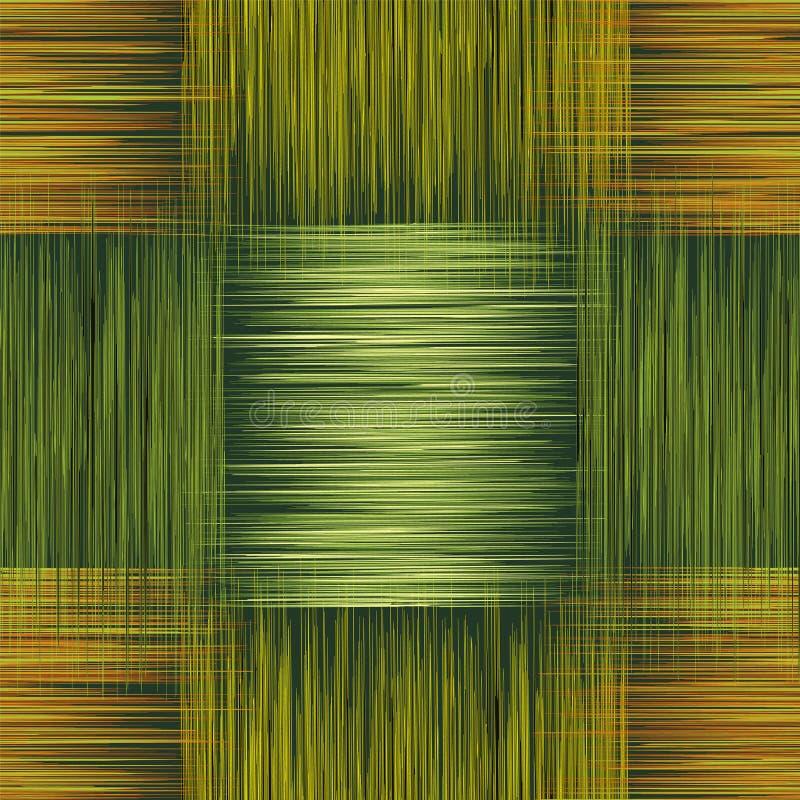 Naadloos geruit patroon met grunge gestreepte vierkante elementen in groene, bruine, gele kleuren stock illustratie