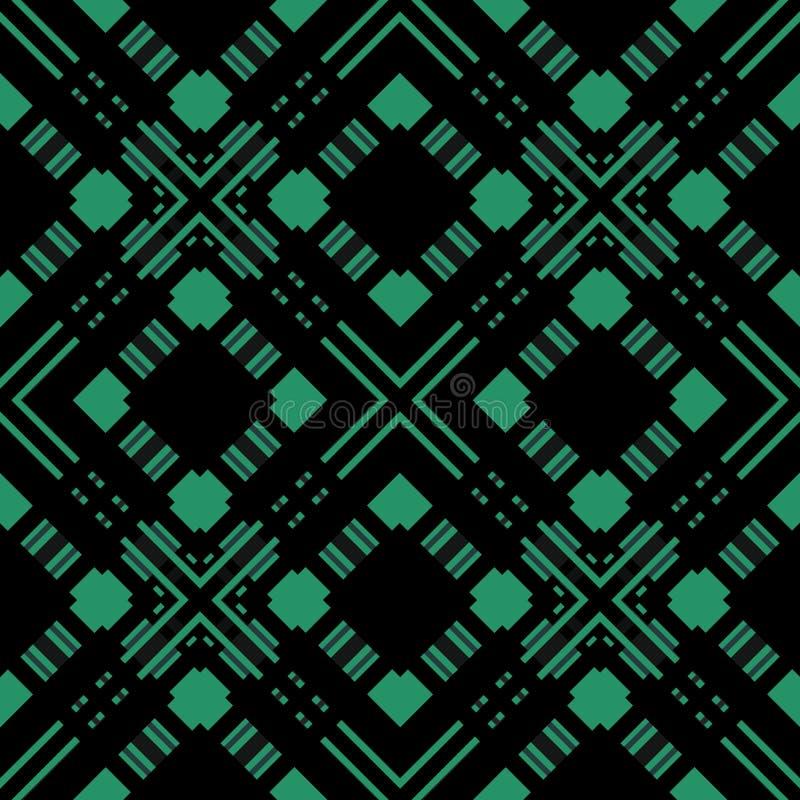 Naadloos geruit plaidpatroon op zwarte vector illustratie