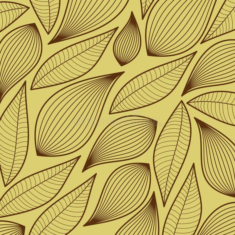 Naadloos gestileerd bladpatroon, stock illustratie