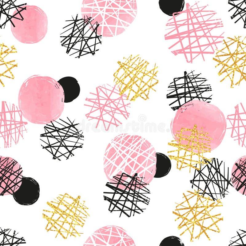 Naadloos gestippeld patroon met roze, zwarte en gouden cirkels Vector abstracte achtergrond vector illustratie