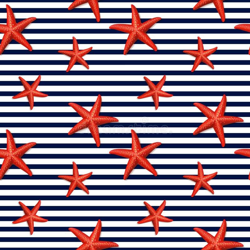 Naadloos gestreept patroon met zeester royalty-vrije illustratie