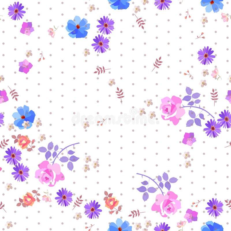 Naadloos gevoelig bloemenpatroon met stippen en diverse bloemen op witte achtergrond stock illustratie