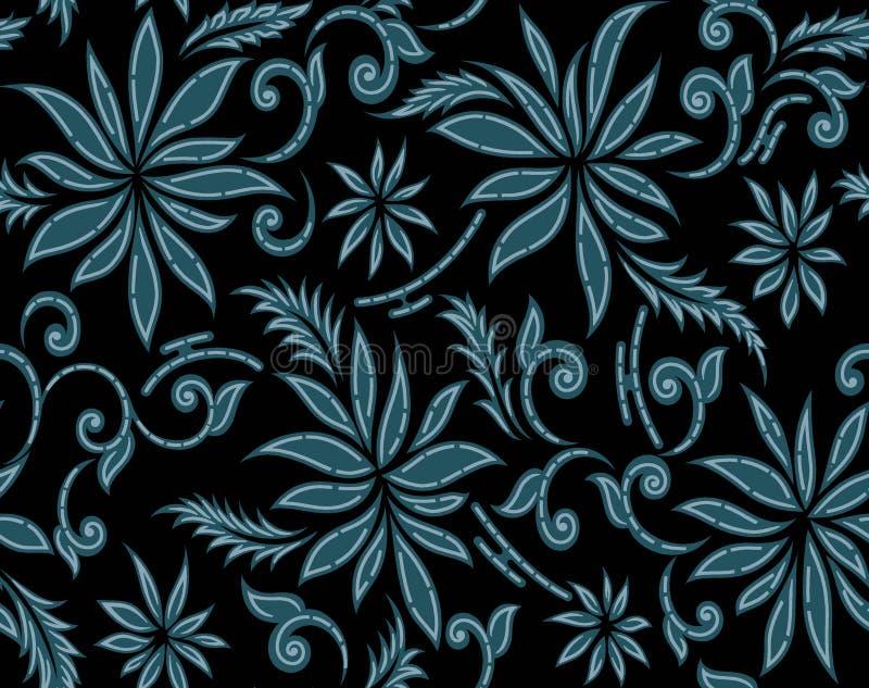 Naadloos gewaagd uitstekend bloempatroon met zwarte achtergrond stock illustratie