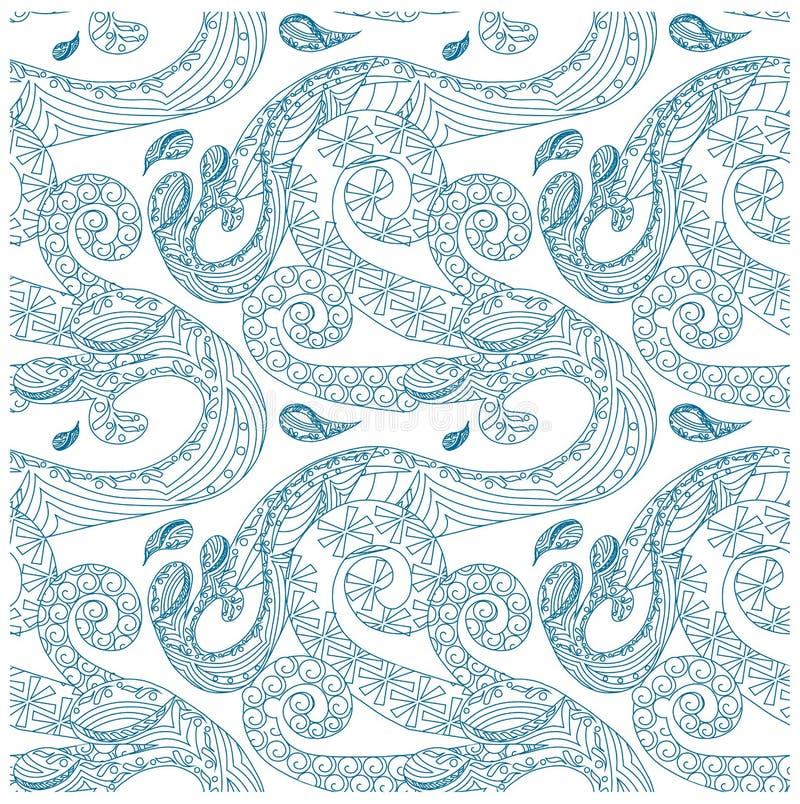 Naadloos golven sierblauw op wit patroon royalty-vrije illustratie