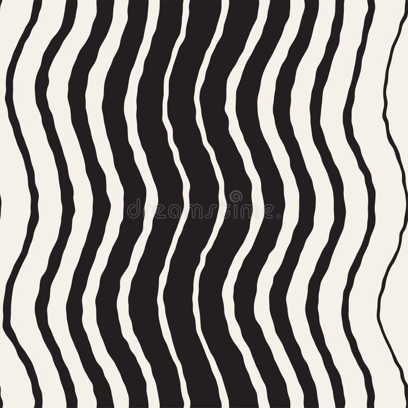 Naadloos Golvend Hand Getrokken Strepenpatroon Het herhalen van vectortextuur royalty-vrije illustratie