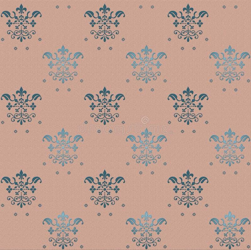 Naadloos gotisch behangpatroon op roze achtergrond met blauwe bloemenelementen royalty-vrije illustratie