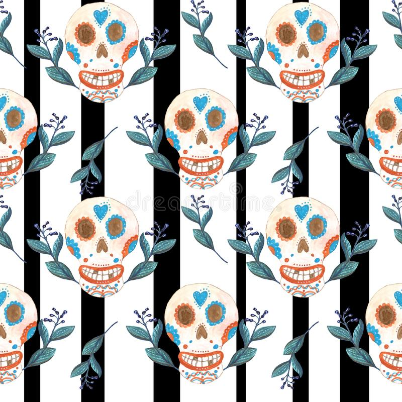 Naadloos gouachepatroon van Mexicaanse schedels en blauwe bloemen zwart-witte achtergrond vector illustratie