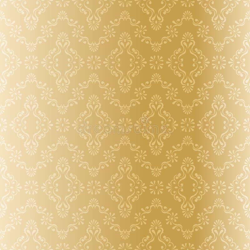 Naadloos gouden filigraanpatroon stock illustratie