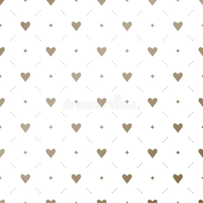 Naadloos gouden patroon met harten op een witte achtergrond stock foto's