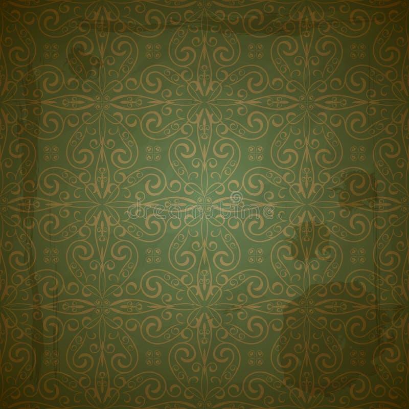 Naadloos gouden patroon op groen stock illustratie