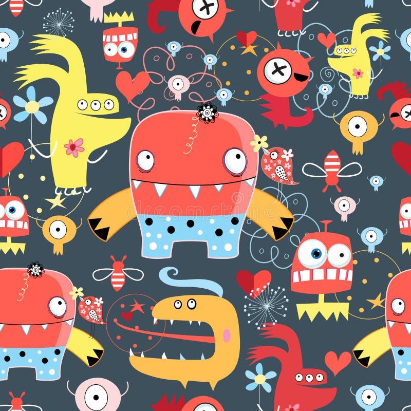 Naadloos grafisch patroon van vermakelijke monsters royalty-vrije illustratie