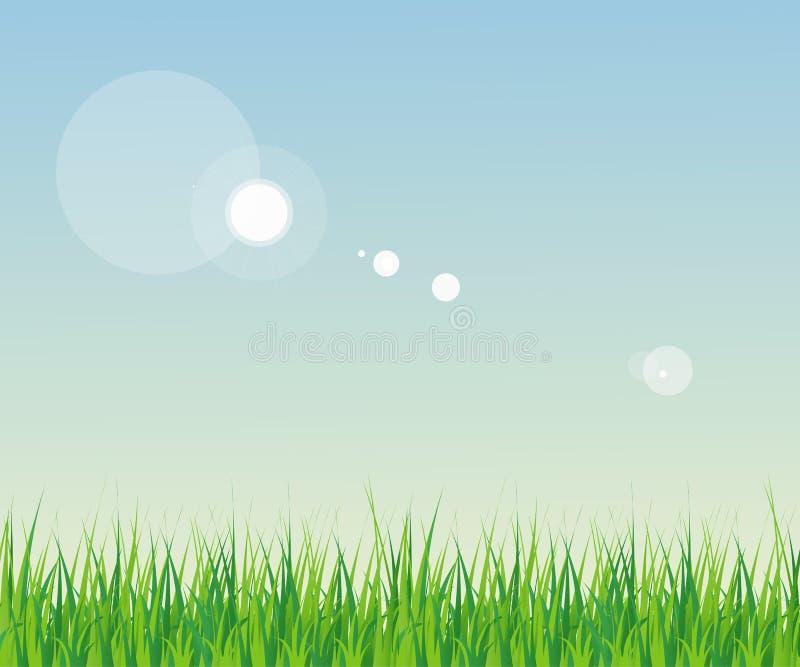 Naadloos gras met hemel vector illustratie