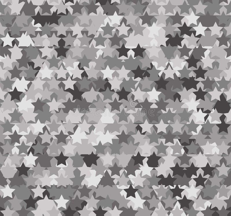 Naadloos grijs abstract patroon Druk van witte, grijze, zwarte sterren op achtergrond van driehoeken en veelhoeken vector illustratie