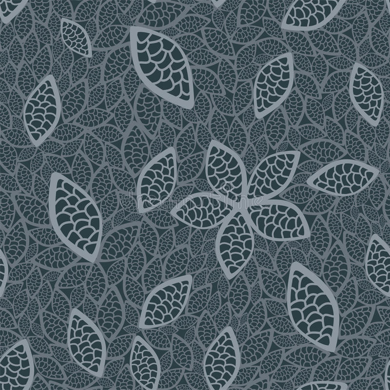 Naadloos grijs bladerenbehang royalty-vrije illustratie