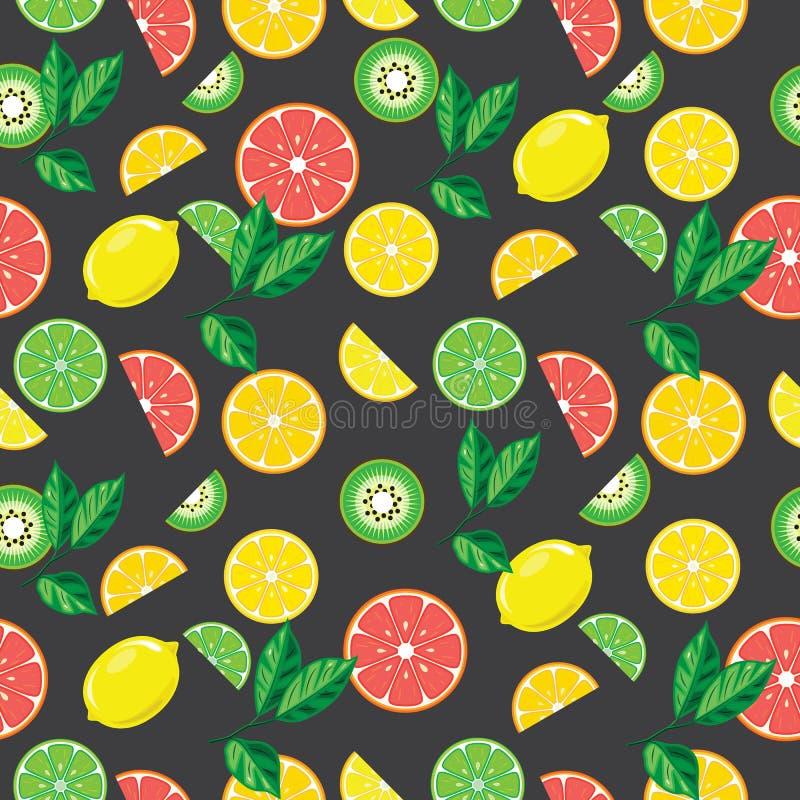 Naadloos grijs patroon met heldere vruchten stock illustratie