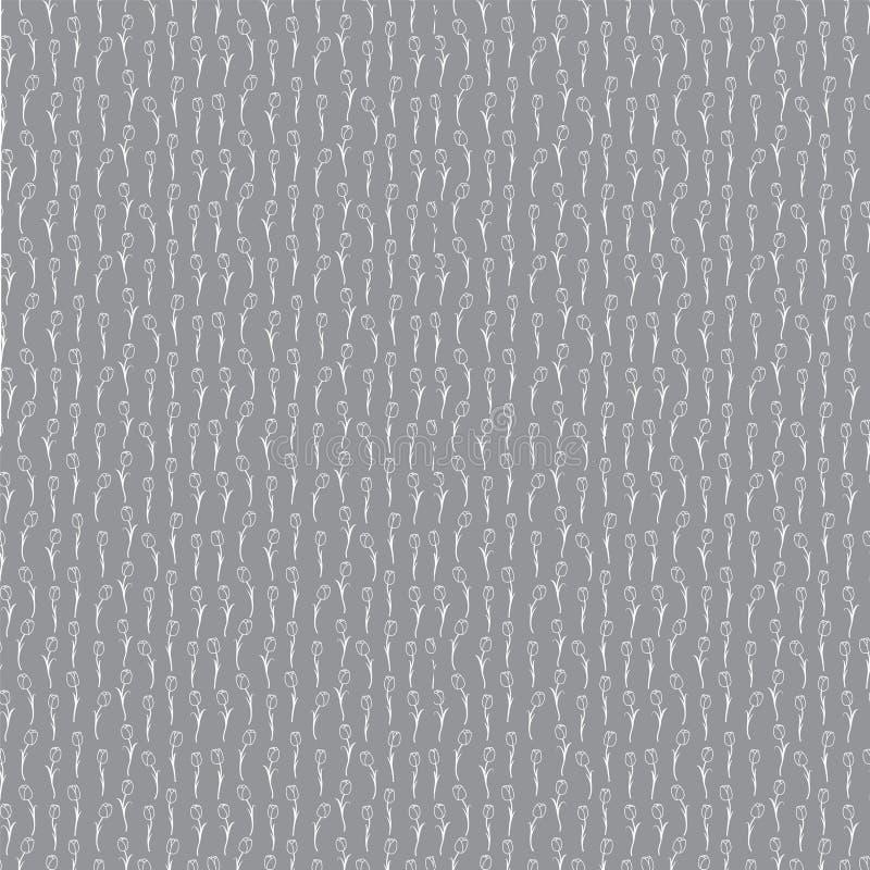 Naadloos grijs tulpenpatroon stock afbeelding