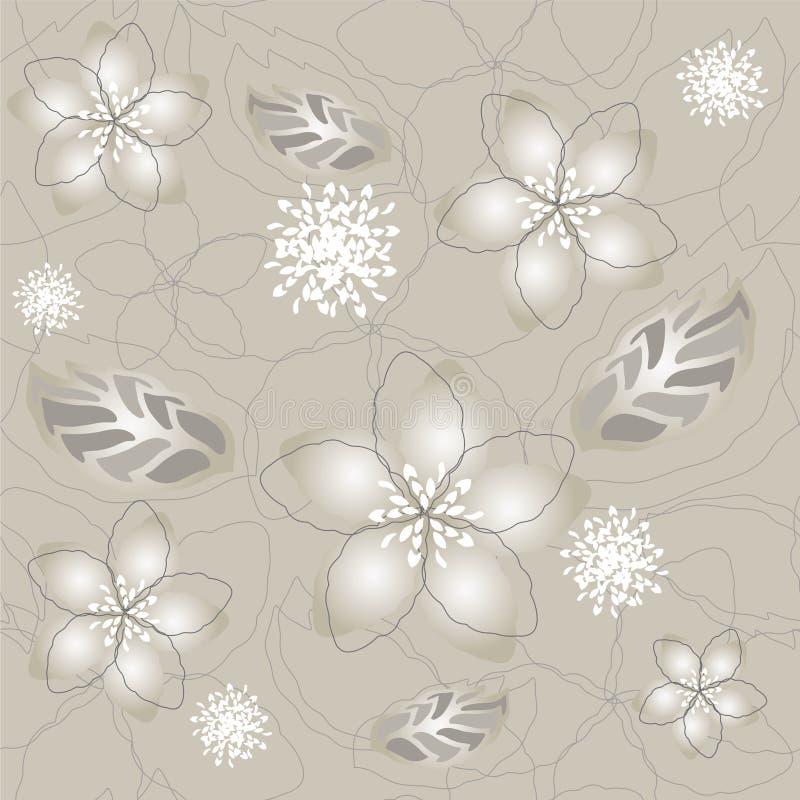 Naadloos grijs zilveren bloembehang stock illustratie