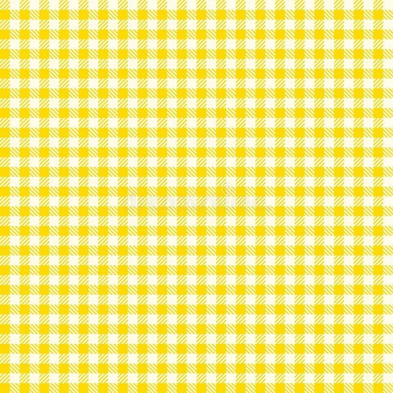 Naadloos groen celpatroon (vector) De ruwe uitstekende gele textuur van de plaidstof Abstracte geometrisch stock illustratie