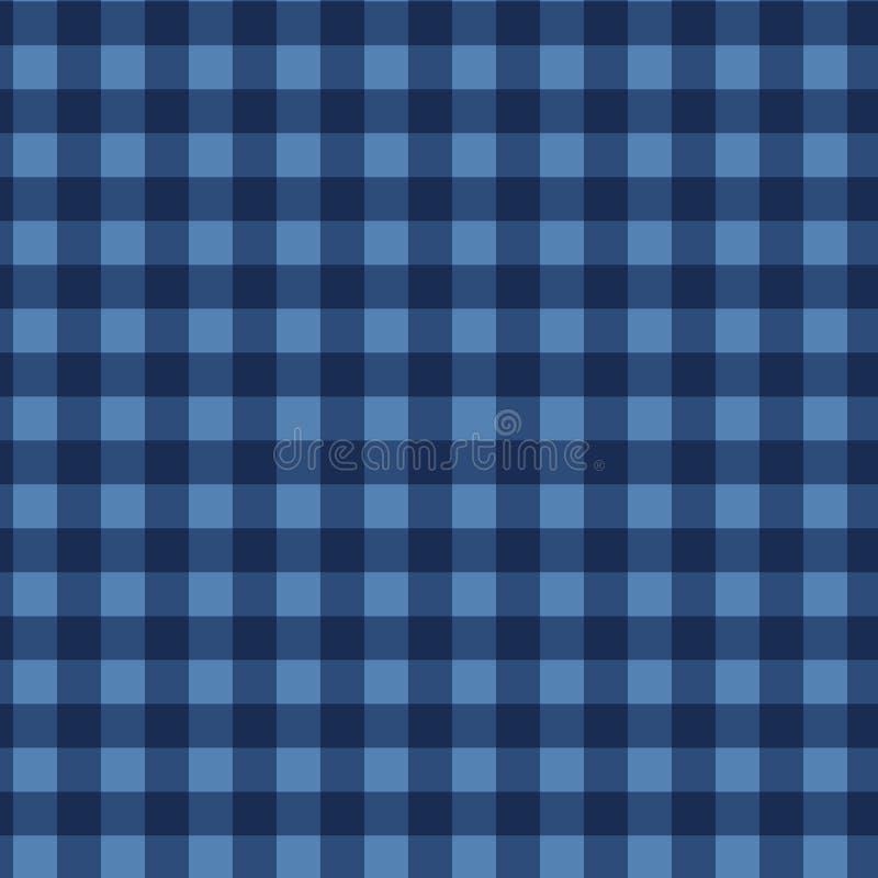 Naadloos groen celpatroon (vector) De uitstekende blauwe textuur van de plaidstof Abstracte geometrisch royalty-vrije illustratie