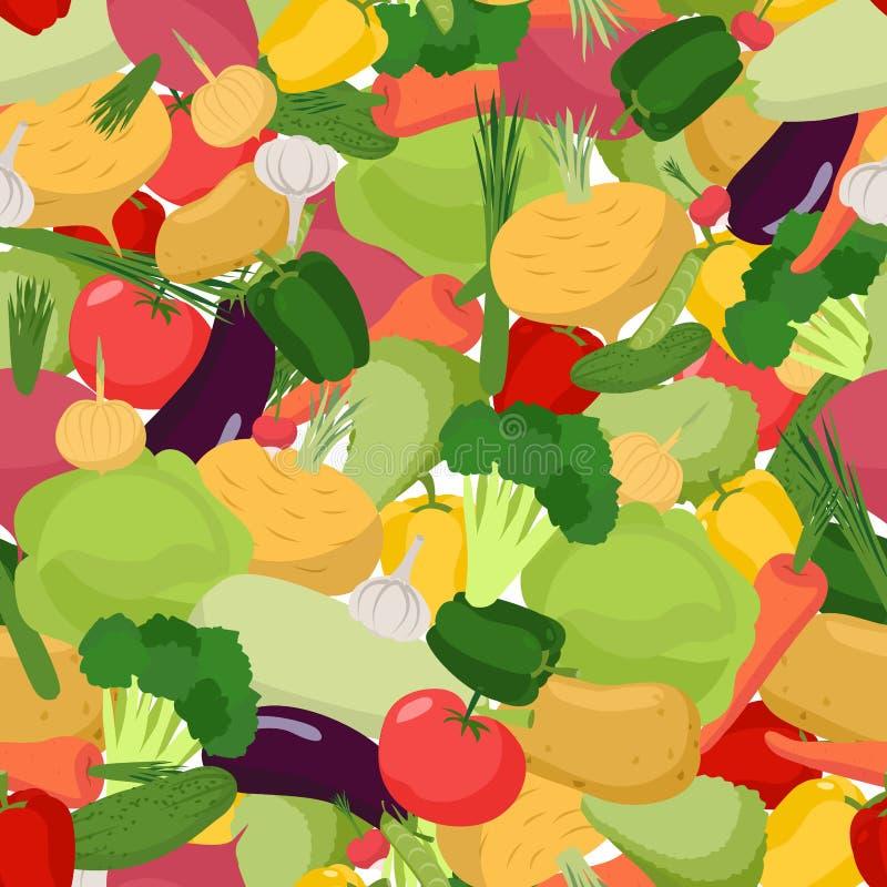 Naadloos groentenpatroon Plantaardig natuurvoeding naadloos klopje stock illustratie