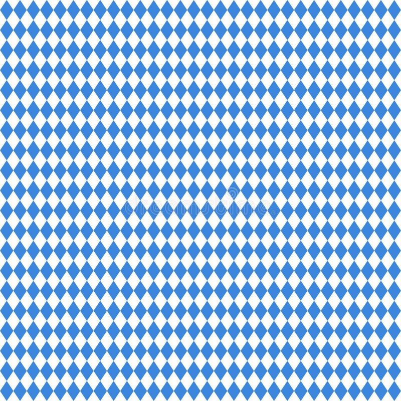 Naadloos Groot Recht Diamond Pattern Oktoberfest Blue And-Wit stock illustratie