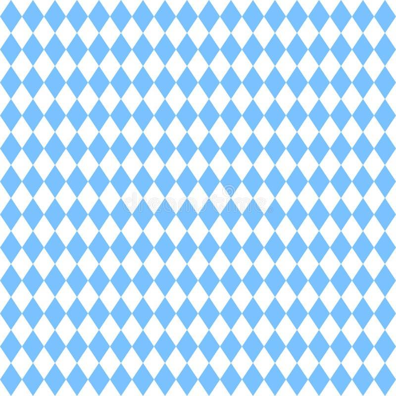 Naadloos Groot Recht Diamond Pattern Oktoberfest Light Blue en Wit stock illustratie
