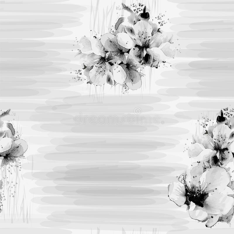 Naadloos grunge gestreept patroon met gestileerde kersenbloemen in zwart-witte kleuren vector illustratie
