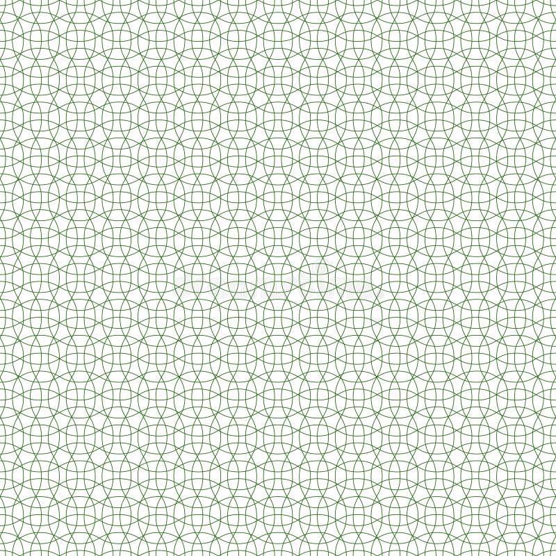 Naadloos guilloche achtergrondpatroon groen, vector beschermend netwerk voor waardevolle documenten, naadloze gevormd guilloche vector illustratie