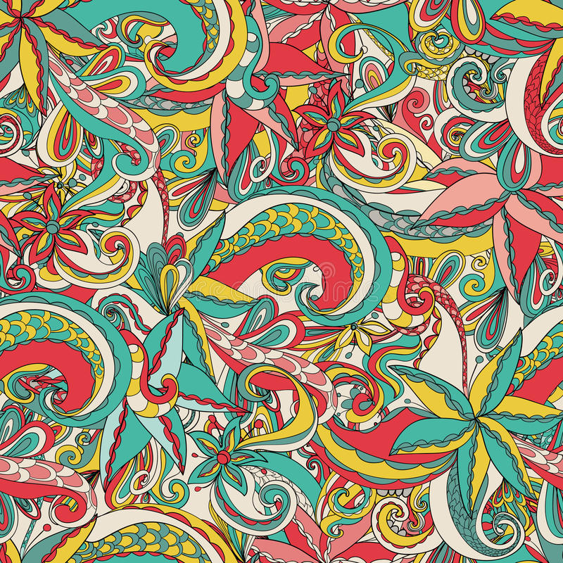 Download Naadloos Hand-drawn Patroon, Bloemenachtergrond Stock Illustratie - Illustratie bestaande uit bloem, kleur: 39105737