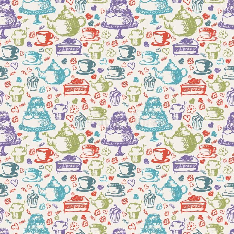 Naadloos hand geschreven patroon voor theethema Met thee, kop, stock illustratie