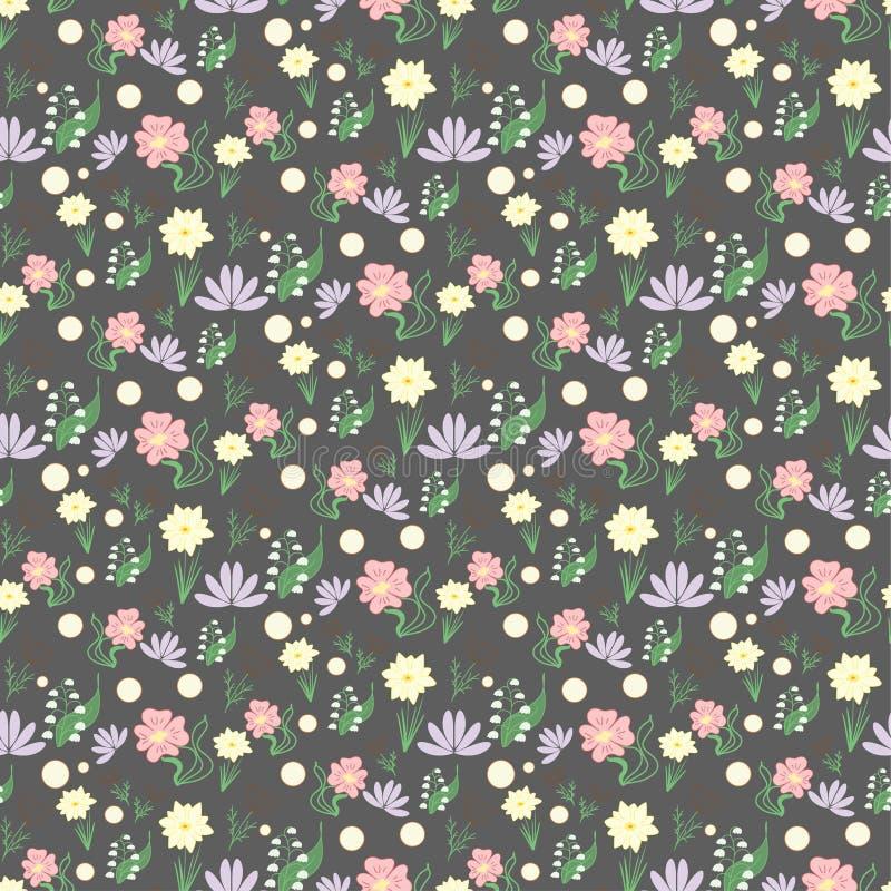 Naadloos hand getrokken bloemenpatroon, donkere achtergrond met klein s royalty-vrije illustratie
