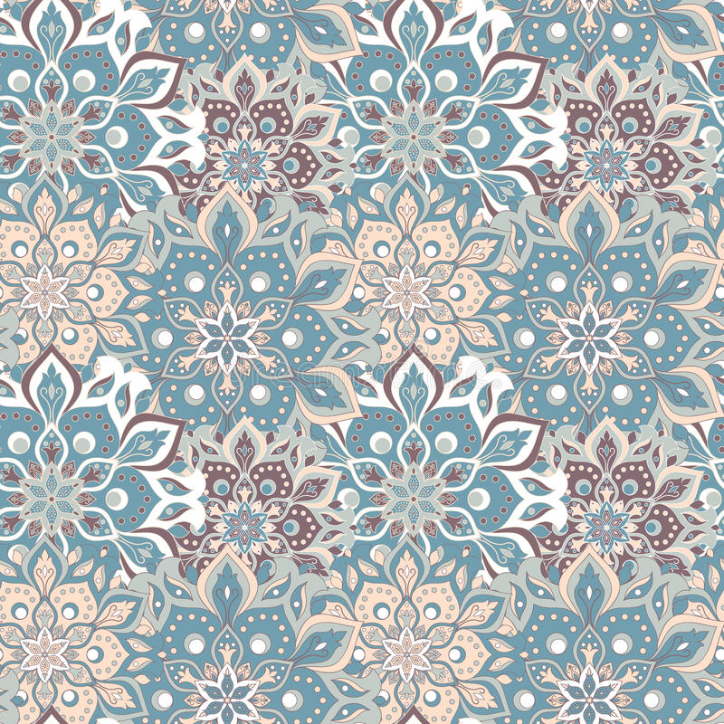 Naadloos hand getrokken mandalapatroon Uitstekende elementen in orienta royalty-vrije illustratie