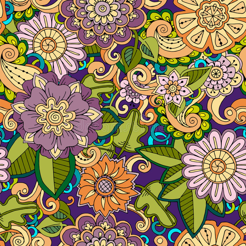 Naadloos hand getrokken patroon met bloemen Decoratief patroon met abstracte bloemen en bladeren royalty-vrije illustratie
