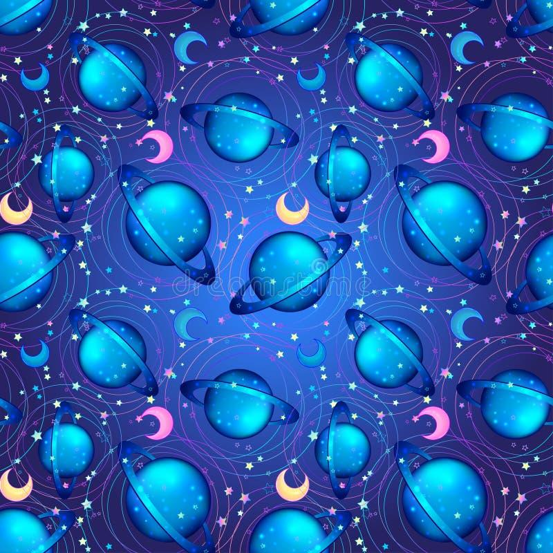 Naadloos hand getrokken patroon met nachthemel met sterren aard of royalty-vrije illustratie