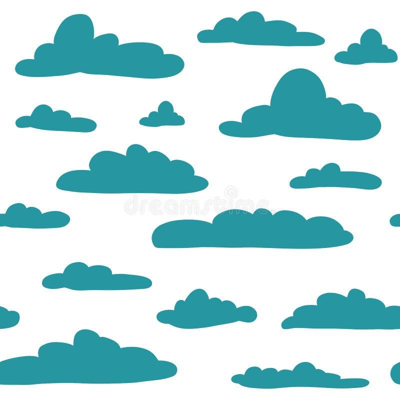 Naadloos hand getrokken patroon met wolken Vectorillustratie op wit vector illustratie